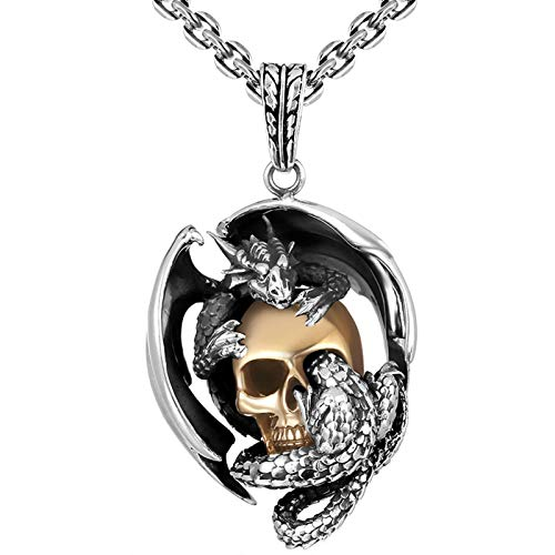 (Adisaer Sterling Silver 925 Pendant Necklace Skull Pendant Necklace Flying Dragon and Skull Pendant Color(Silver))