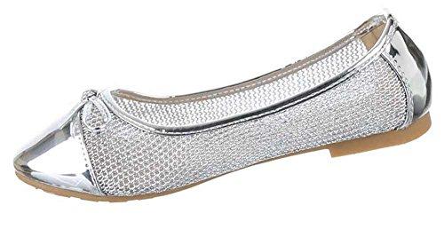 Damen-Schuhe Ballerinas   elegante Slipper mit Blockabsatz und Schleife in verschiedenen Farben und Größen   Schuhcity24   perforierte Pumps Silber