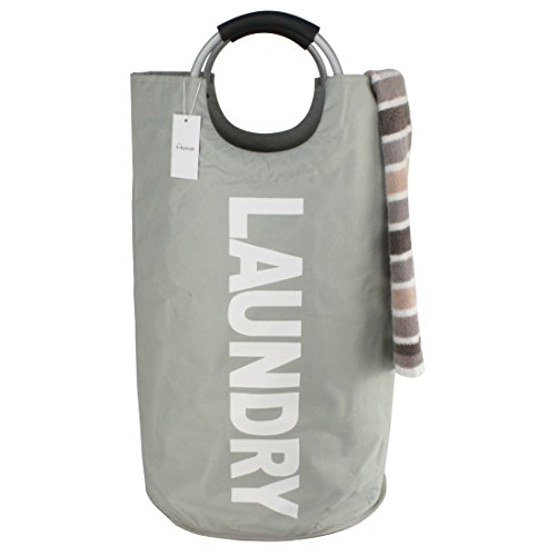 thicken laundry bag with alloy handles for college, camping and home, heavy duty and durable canvas utility, shopping or travel bag, collapsible and self standing as laundry basket (grey)