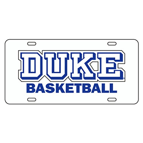 Duke Blue Devils Basketball Reflective White Car Tag - Ncaa Licensed Products Basketball