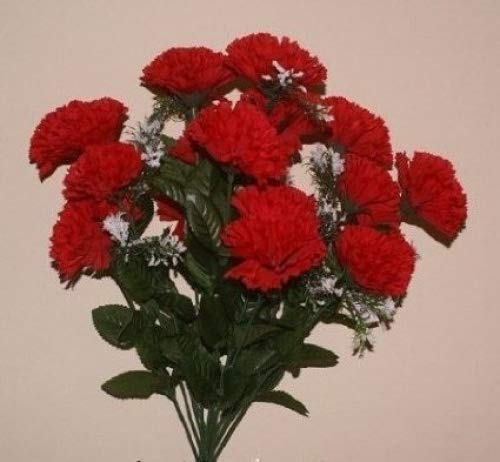 18 head RED carnation artificial flower bush wedding/grave/vase by FSUK