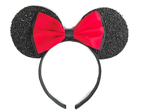 Homemade Peter Pan Costumes For Men (MeeTHan Disney Mickey Mouse Minnie Mouse Ears Red Bow Headband: M11 (Red Bow))
