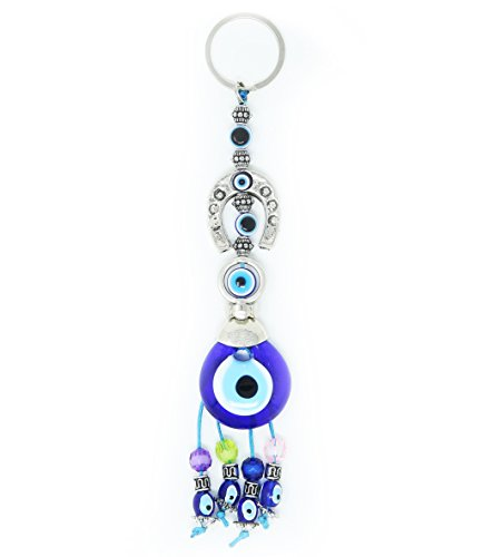 Evil Eye Keychain Set Women & Men Turkish Greek Key Rings Protection Lucky -