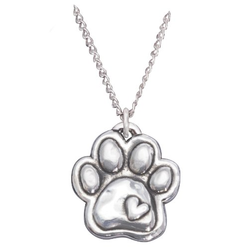 Rockin' Doggie Sterling Silver Necklace, Paw with Heart by Rockin Doggie