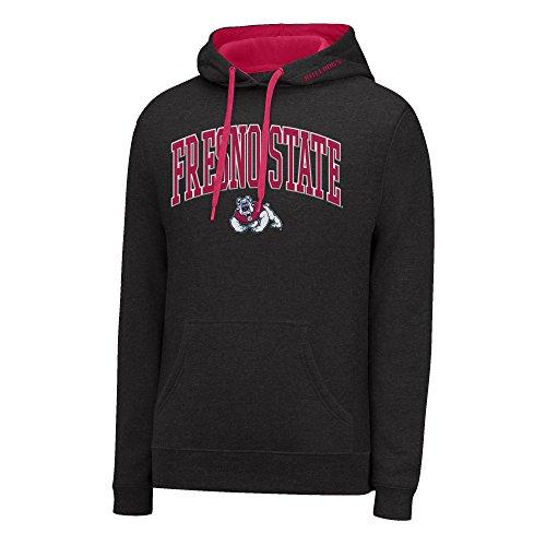 NCAA Fresno State Bulldogs Men's Single Dye Arched School Name Twill Hoodie, Medium, Black HTR/Red