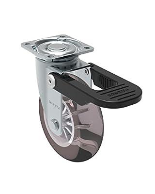 "Schioppa, GLAP 310 GEL Black FPI, 3"" (75 mm) Swivel Brake Caster, Non-Marking Polyurethane Wheel, 90 lbs, Plate: 1-21/32 x 1-21/32"" (BH 1-1/4 x 1-1/4"")"