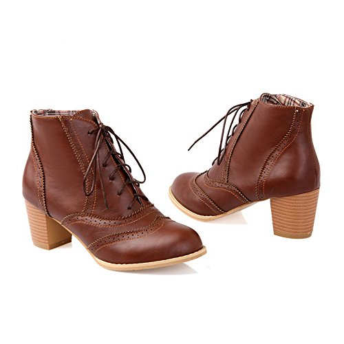 PU Brown Womens Bandage Solid Heels Round Toe Boots Kitten with Closed WeenFashion g4YBqwRY