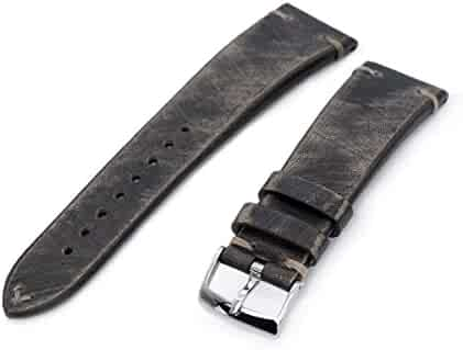 e1a9190f566 22mm MiLTAT Italian Handmade Brushed Blackish Brown Watch Strap