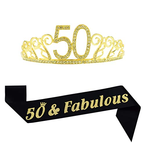 - 50th Birthday Gold Crown and Sash, Glitter Satin Sash and Crystal Rhinestone Tiara Birthday Crown for Happy 50th Birthday Party Supplies Favors Decorations 50th Birthday Cake Topper Birthday Gifts