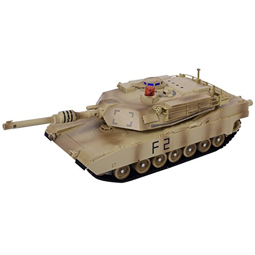 USA_BEST_SELLER 1:14 MIA2 Military Tank Remote Control rc Shoots Sound Light,Rotating Turret Recoil Action