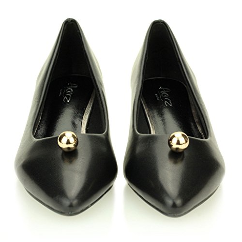 Mujeres Señoras Tarde Cortes Casual Bajo Kitten Tacón Sandalias Zapatos Tamaño (Negro) Negro