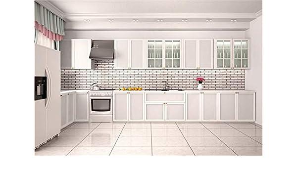MMPTn 7x5ft 3D Fondo de Cocina Blanco Limpio y vacío para fotógrafos Estilo de Vida Moderno Hogar Apartamento Cocina Muebles Interiores Interior Foto Fondo Estudio fotográfico Atrezzo: Amazon.es: Electrónica