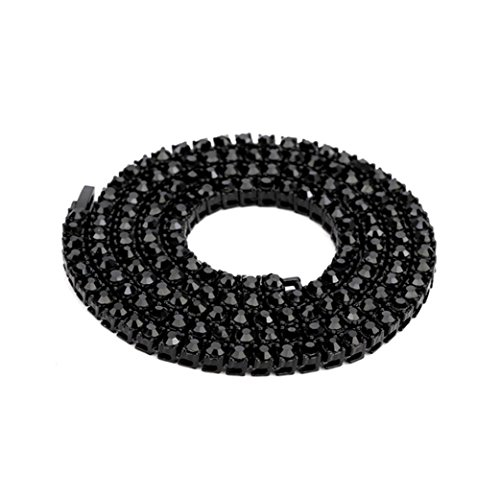 trong 5mm Rounded Tennis Necklace Mens Punk Iced Out Rhinestone Chain Necklace (Black, 30) (12 Light Rounded Pendant)