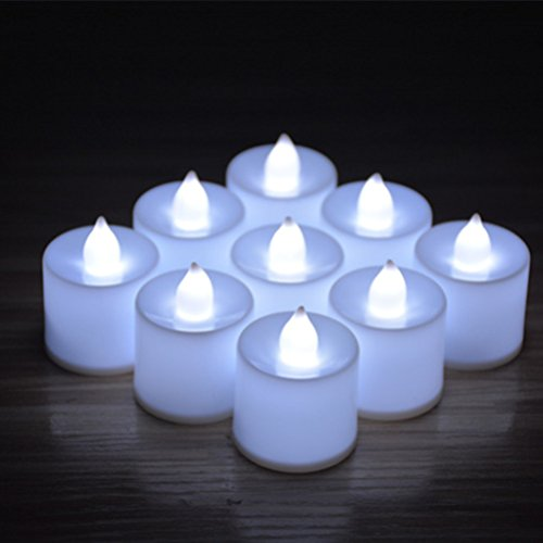 - 24pcs Battery Operated Candles,Winzik Flameless LED Tealight Candles,Votive Style,Valentine's Day Romantic Date,birthday party,white
