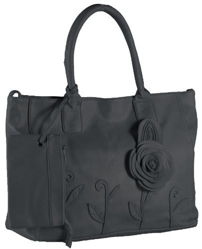 Rosette Bag ToteBag Purse Black with Shoulder Leather Womens Faux Womens rSxwnrag
