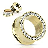 Gold Tone Jewel Encrusted Screw On Flared Tunnel Plug (9/16 Inch) Rhinestone Studded Tunnel Ear Plug (14 mm) Stainless Steel Body Piercing (2 Piece Pair)