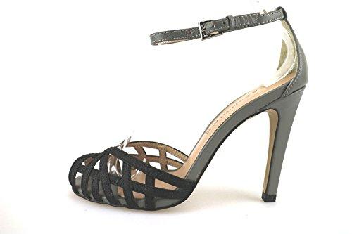 CAFE' NOIR 35 EU sandali donna nero pelle grigio tessuto AG288