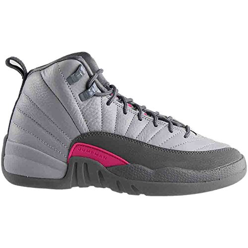 Nike Girls Air Jordan 12 Retro GG Wolf Grau / Vivid Pink Leder Multi
