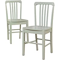 2) Sauder Furniture 415253 Original Cottage Slat Back Chairs in Rainwater Finish