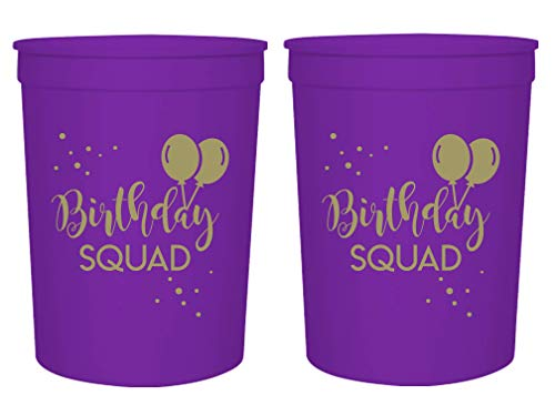 Birthday Squad Party Cups, Set of 12, 16oz Birthday Stadium Cups, Perfect for Birthday Parties, Birthday Decorations, All Birthday Events (Purple) ()
