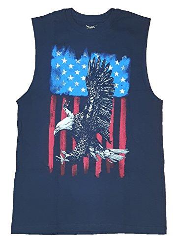 ying Over American Flag Navy Sleeveless Muscle Shirt - Medium (Faded Glory American Flag)