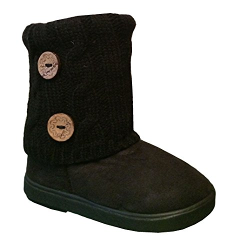 New Girls Toddlers Kids Slouch Comf Midcalf Suede Boots Shoes (13, Black2285C)