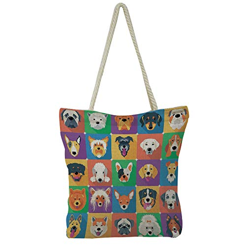 iPrint Handbag Cotton and Linen Shoulder Bag Small and Fresh Literature and Art,Dog Lover Decor,Dogs in Studio Chihuahua Chow Chow Cocker Spaniel Poodle Purebred Sheepdog,Picture Print Design.
