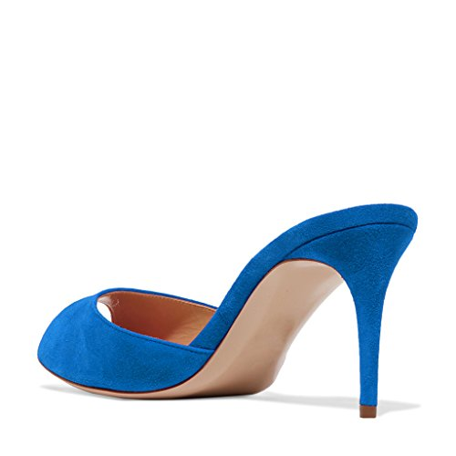 4 Women Low 10cm Heel Pump Peep 15 Blue Shoes Mules Dress Comfort Royal Sandals US Slip Size Toe FSJ On Slide FdZSWqpF