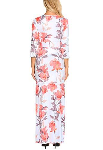 Qearal Femmes Cou Casual V Imprimé Floral Manches 3/4 Torsion Noeud Taille Longue Robe De Soirée Maxi Pattern2