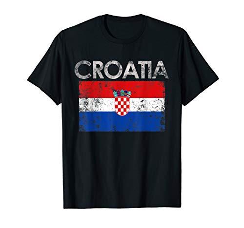 Vintage Croatia Croatian Flag Pride Gift T-Shirt ()