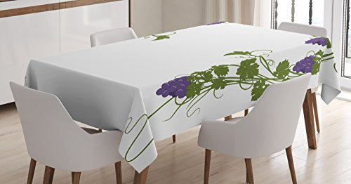 Lunarable Vine Tablecloth, Grapevine Arch Design Wedding Inspired Green Gate of Happiness Good Memories Print, Dining Room Kitchen Rectangular Table Cover, 52 W X 70 L inches, Violet Green