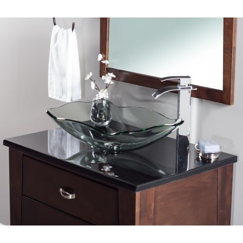Miseno MNO-C713 Oval 20'' Tempered Glass Vessel Bathroom Sink, Brushed Nickel Drain by Miseno
