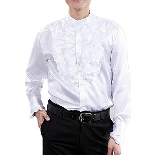 Men Shirts Victorian Tuxedo Satin Long Sleeve Ruffle Stand-up Collar Blouses (S, White)]()