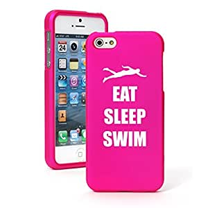 Apple iPhone 5c Snap On 2 Piece Rubber Hard Case Cover Eat Sleep Swim (Hot Pink)
