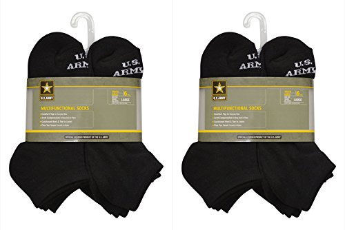U.S. ARMY Kids' Medium 12 Pairs (2 Packs Of 6) Multifunctional Low Cut Socks (Black) by U.S. Army (Image #2)