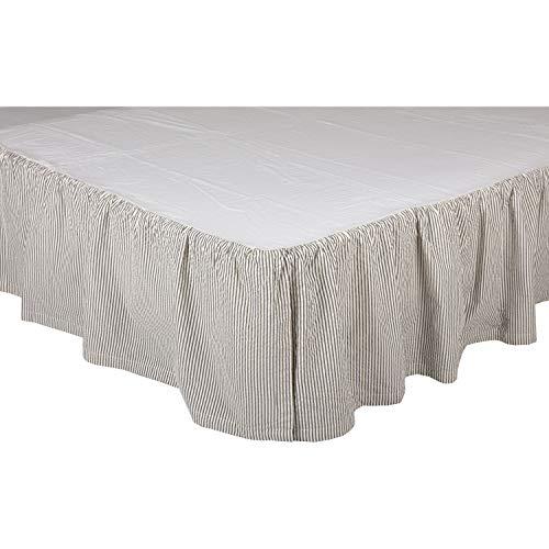 VHC Brands Americana Hatteras Blue Ticking Cotton Split Corners Gathered Seersucker Striped Twin Bed Skirt Denim