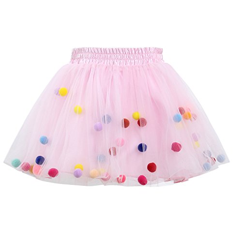 (GoFriend Tutu Skirt Baby Girls Tulle Princess Dress 4-Layer Fluffy Ballet Skirt with Pom Pom Puff Ball (XL, Pink))