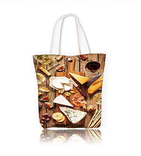 Canvas Shoulder Hand Bag different kinds of cheeses wine baguette fruits and snacks on rustic wooden fromabove women Large Work tote Bag Shoulder Travel Totes Beach W22xH15.7xD7 INCH
