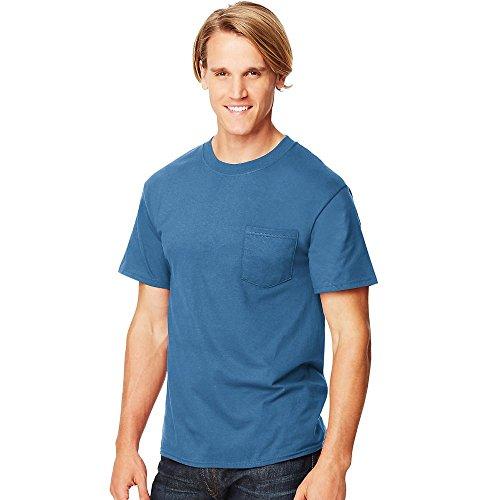 Hanes Short Sleeve Beefy Pocket T-Shirt - 5190, Denim Blue, Large