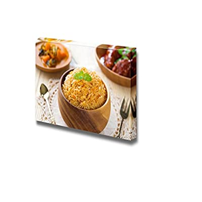 Indian Meal Biryani Rice or Briyani Rice and Curry Fresh Cooked Indian Dish Food - Canvas Art Wall Art - 24