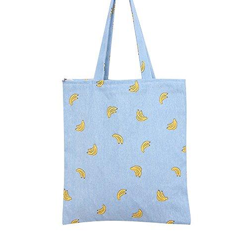 Print Canvas Shopper (Caixia Women's Cotton Banana Print Blue Canvas Tote Shopping Bag (Tote-zip closure))