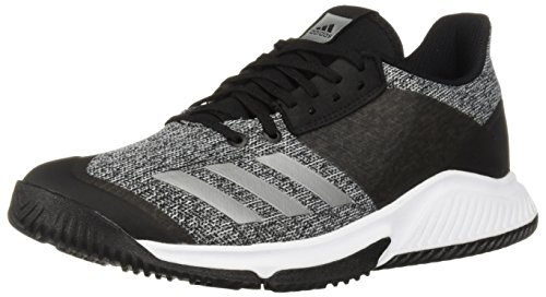 adidas Women's Crazyflight Team Volleyball Shoe, Black/Silver Metallic/White, 7 M US