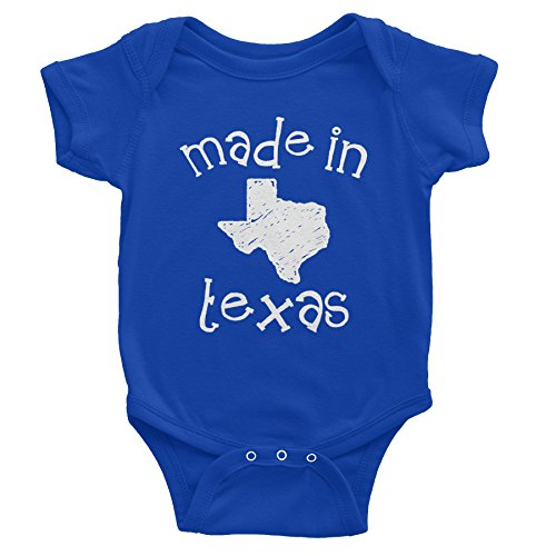 Made in Texas - 001 - Funny Texas Baby Infant Onesie One Piece - Royal (Made Baby Onesie Texas In)
