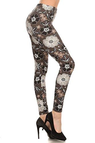 R559-PLUS Midnight Flowers Print Fashion Leggings