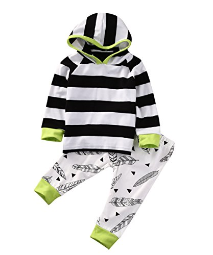 Ma&Baby Newborn Kids Baby Boys Girls Clothes Striped Outfits Hooded Tops+Pants (6-12 (Brother And Sister Halloween Outfits)