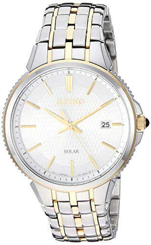 Seiko Mens Quartz Stainless Steel Dress Watch, Color:Two Tone (Model: SNE508)