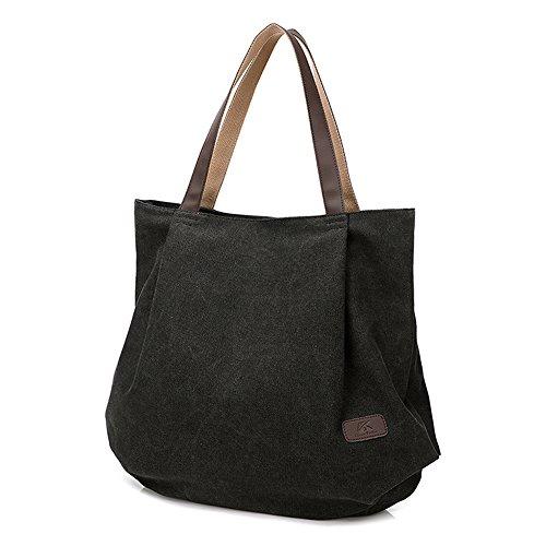 BYD - Mujeres Large School Bag Bolsos totes Shopping Bag Canvas Bag Color puro Carteras de mano Negro