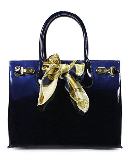 Scarleton Patent Satchel H116707 - Blue