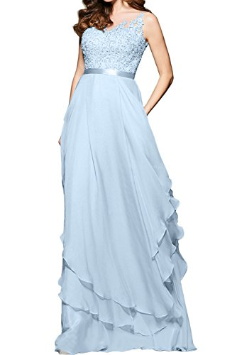 Ivydressing Spitze Guertel Elegant Partykleid lang Ballkleid gedeckt Herzform Tuell Abendkleid Applikation Knopf Hellblau Aermellos Chiffon Damen rR0qSr