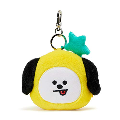 BT21 Official Merchandise by Line Friends - CHIMMY Character Keychain Coin Purse Bag Charm, Yellow